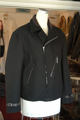 WOOL MELTON JACKET -Aviators Style- BLACK