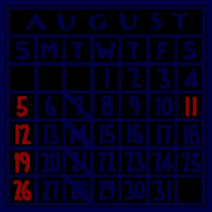 カレンダー:2018/08