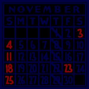 カレンダー:2018/11