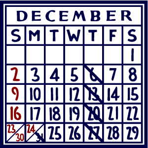 カレンダー:2018/12