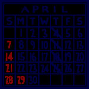 カレンダー:2019/04