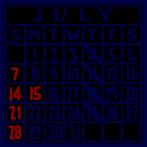 カレンダー:2019/07