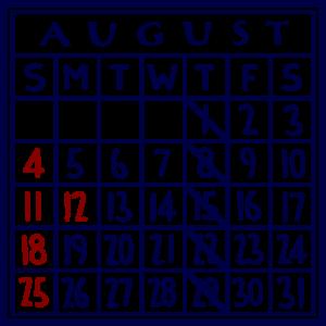 カレンダー:2019/08