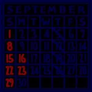 カレンダー:2019/09
