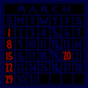 カレンダー:2020/03