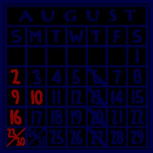 カレンダー:2020/08