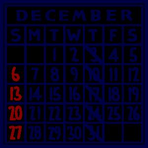 カレンダー:2020/12