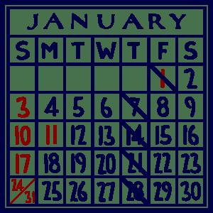 カレンダー:2021/01