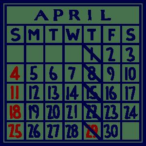 カレンダー:2021/04
