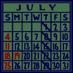 カレンダー:2021/07