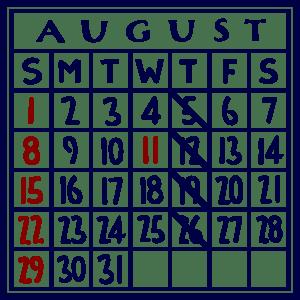 カレンダー:2021/08