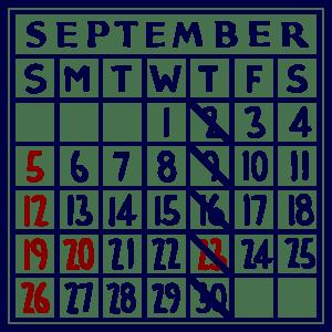 カレンダー:2021/09