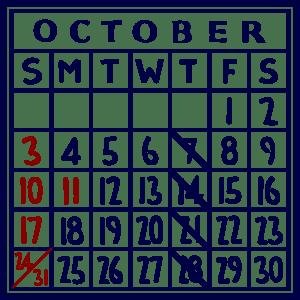 カレンダー:2021/10
