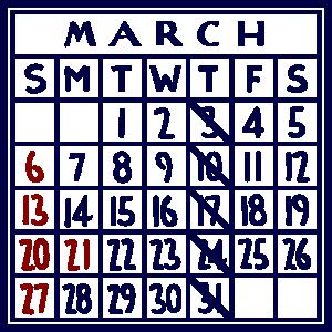 カレンダー:2022/03