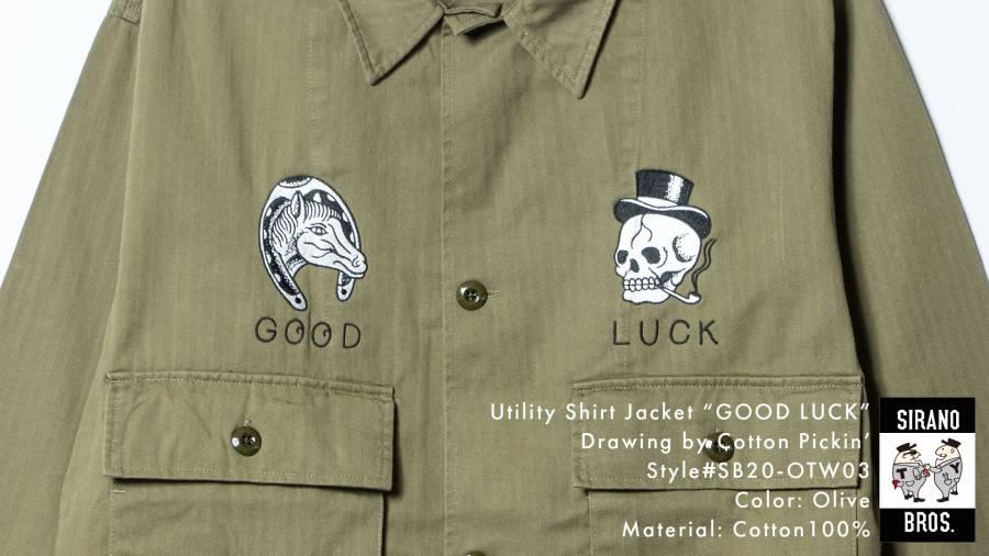 Utility Shirt Jacket GOOD LUCK